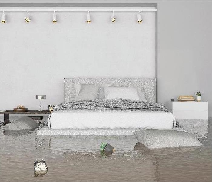bed in flooded bedroom